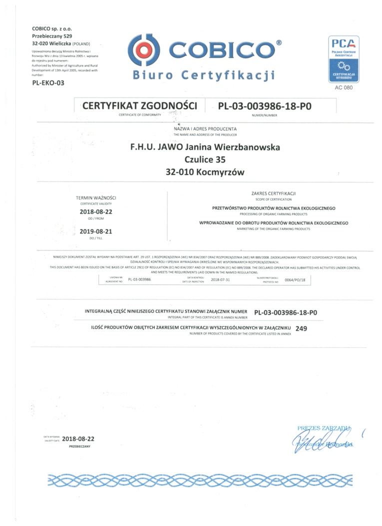 Certyfikat Jawo Kraków