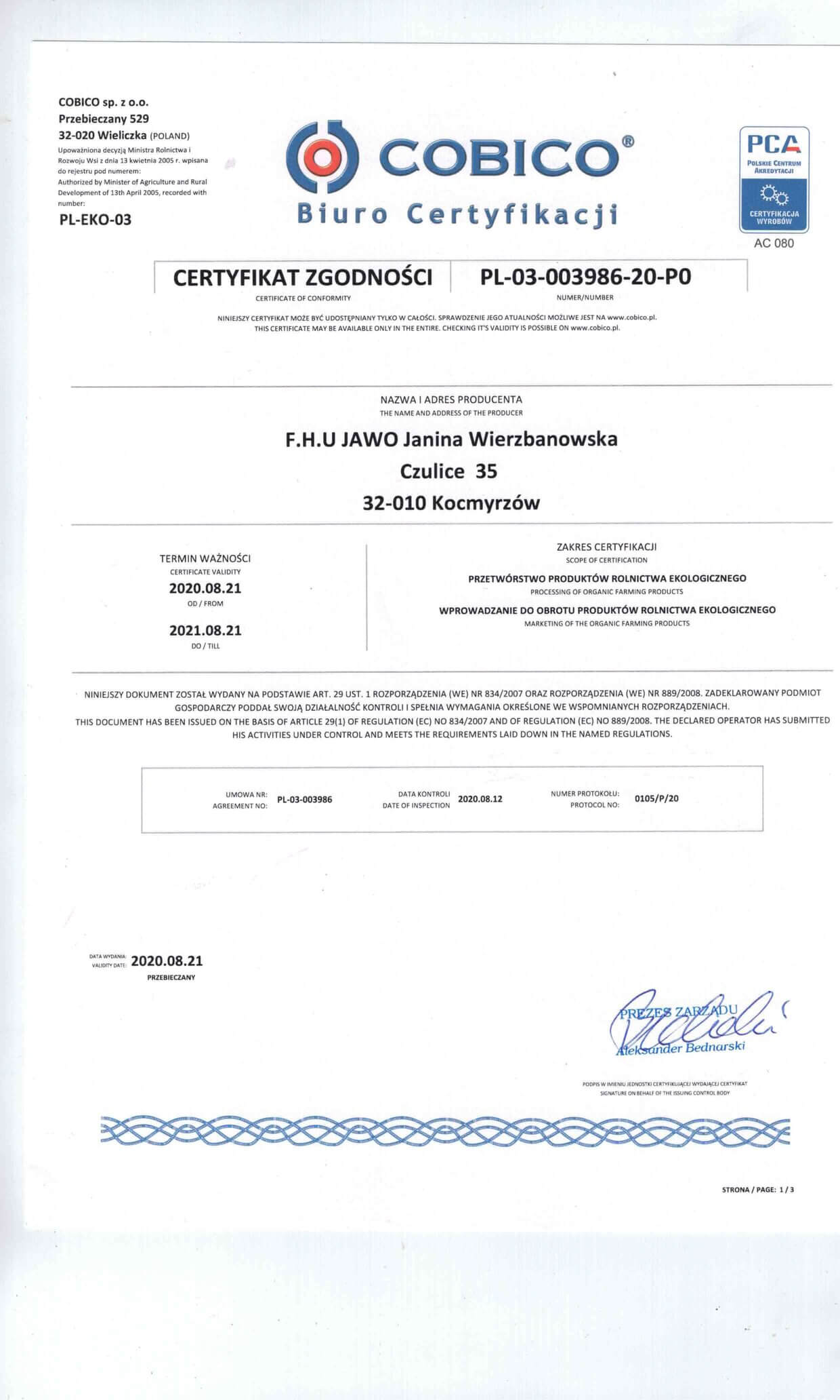 Certyfikat Jawo2008